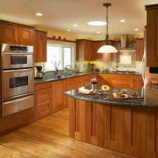 cherry cabinet kitchen with frosted glass doors kitchen