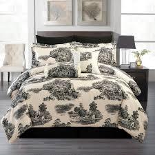 cream and white bedroom black and white toile bedding vnproweb decoration