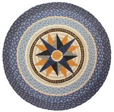 Cool Round Rugs by Blue Nautical Compass Rug Braided Round Rug Coastal Decor For