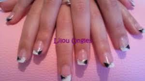 dessin sur ongle en gel lilou ongles selection gel uv nail art noir blanc argent vidéo