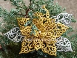 poinsettia free standing lace ornament set sku 10635