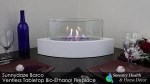 sunnydaze barco ventless tabletop bio ethanol fireplace youtube