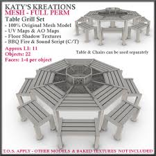 sit around grill table second life marketplace full perm mesh table grill bbq barbeque
