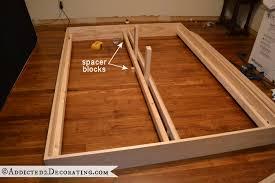Support Bed Frame Diy Stained Wood Raised Platform Bed Frame Part 1