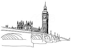 big ben and westminster bridge outline animation hand drawn sketch