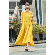 boho dress ginger yellow dress womens linen dress linen clothing