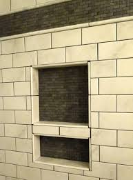 Built In Shower by Subway Tile Shower Wall Shelf Having Two Section With Stone Inner