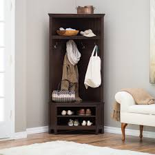 Entryway Coat Rack With Shoe Storage by Belham Living Richland Corner Hall Tree Espresso Those Keys
