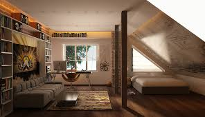 bedroom elegant attic bedroom with very sloping roof design idea