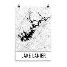 lake lanier map lake lanier gifts and lake lanier decor from modern map