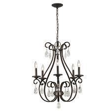 5 light bronze chandelier shop portfolio marimay 24 45 in 5 light dark bronze vintage crystal