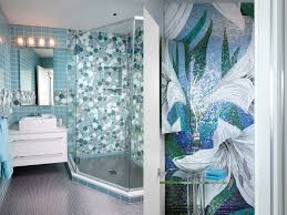 bathroom wall with seamless light and darker blue mosaic tiles