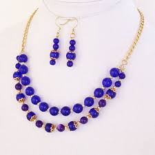 round bead necklace images Best cobalt blue statement necklace products on wanelo jpg
