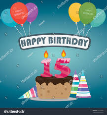 Birthday Party Invitation Card Design Birthday Cake Candle Number 15 Flat Stock Vector 577315858