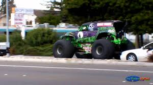 monster trucks youtube grave digger monster truck grave digger drive on a street youtube