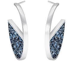palladium jewellery crystaldust hoop pierced earrings blue palladium plating