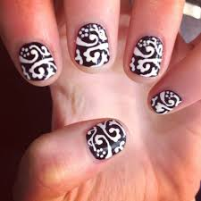 nail arts cute simple black and white nail designs cute black