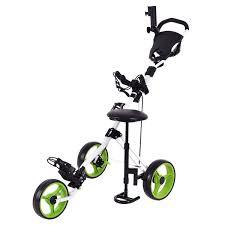 amazon com tangkula swivel 3 wheel push pull cart golf trolley