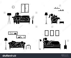 Armchair Position Stick Figure Resting Home Position Set Stock Vector 724051801