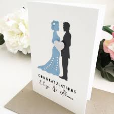 wedding gift greetings blue grey wedding card handmade by the paper angel