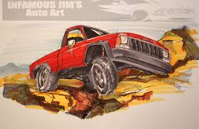 jeep comanche pictures posters news jeep infamous jims auto art sketches designs fine art