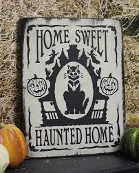 black cat home sweet haunted home sign halloween vintage
