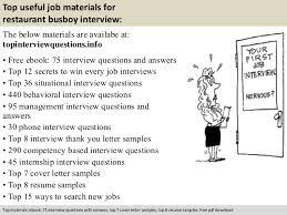 Busboy Job Description Resume by Restaurant Busboy Interview Questions