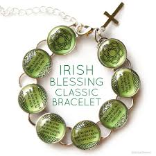 silver bracelet with cross charm images Irish blessing charm bracelet with celtic rose clover jpg