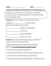 identifying subject and predicate worksheet teaching resources