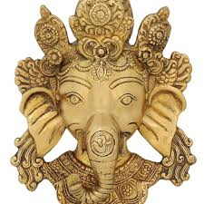 brass sculpture from india face of ganeha wall decal religious
