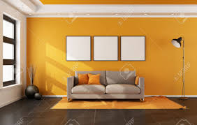 Livingroom Carpet by Modern Living Room With Orange Wall And Couch On Carpet