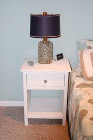 Cool Side Tables Ethnic Black Shade Table Lamp On White Stained Wooden Nighstand
