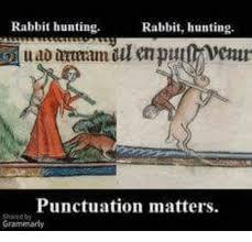 Punctuation Meme - rabbit hunting rabbit hunting punctuation matters gram meme on me me