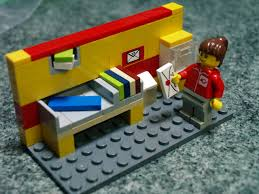 lego minifig post office worker in sorting office letter