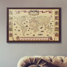 World Map Framed Wellingtons Travel Hand Drawn Old Style World Map