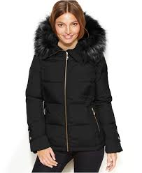 calvin klein black hooded faux fur trim quilted puffer coat