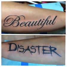 meaningful duality forearm lettering tattoos venice tattoo art