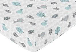 aqua and gray bird tree and arrow print crib sheet for earth and