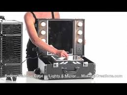 rolling makeup case with lighted mirror makeup cases rolling makeup case with lights and mirror youtube