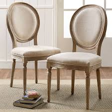 amazon com shiraz linen oval back chairs in natural set of 2