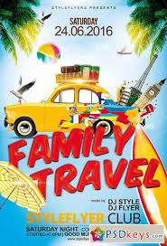 family travel psd flyer template facebook cover free download