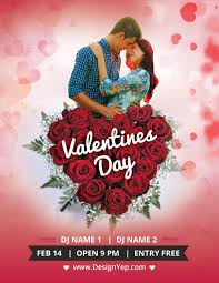 free download valentines day flyer psd template