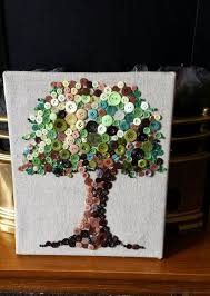 Canvas Home Decor Button Tree Art Mixed Media Canvas Button Tree By Uniquenessgemz