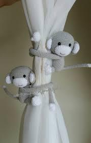 Monkey Curtains Nursery A Pair Of Light Pearl Gray Monkeys Curtain Tiebacks Both