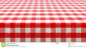 table perspective view with red checked picnic tablecloth stock
