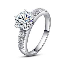 Cubic Zirconia Wedding Rings by Europe Luxury 925 Sterling Silver Inlaid 2ct Cubic Zirconia