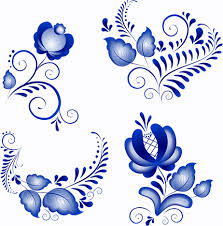 shiny blue flower ornaments vector free vector in encapsulated