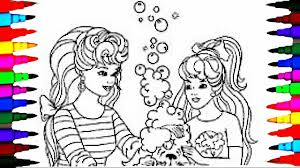 coloring pages barbie and stacie dog bubble bath coloring book