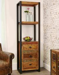 agra reclaimed wood bookcase with drawers