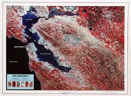 san francisco map painting satellite land image raised relief map of san francisco